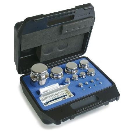 E2 série de poids. 1 g- 50 g acier inoxydable. en valise en plastique