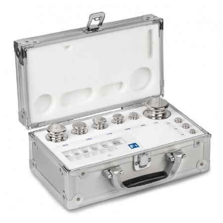 OIML E2 (314-0x6) Set of weights - knob shape, polished stainless steel, aluminium case