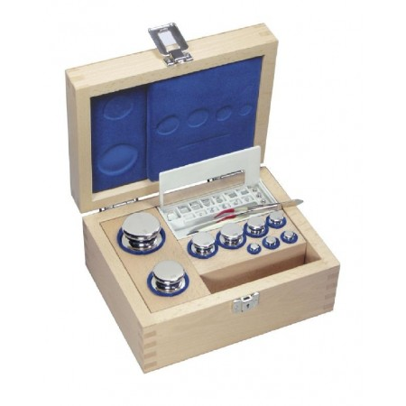OIML F1 (325-0x2) Set of weights - ECO-Shape, polished stainless steel, Wooden box